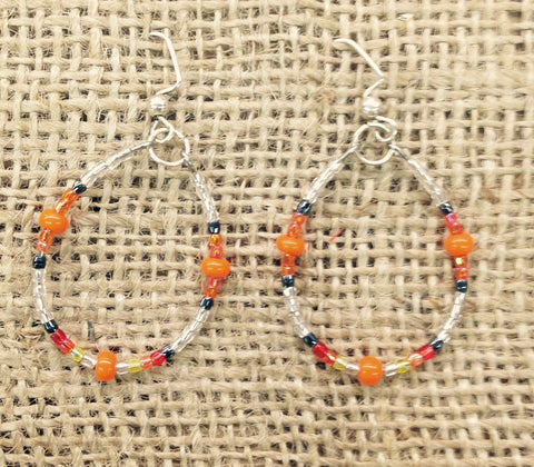 Orange/White Multi-Coloured Beaded Hoop Earrings