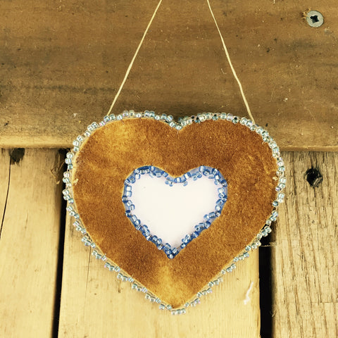 Blue and Light Blue Beaded Moose Hide Heart Frame