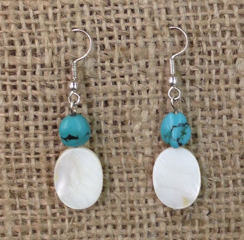 Synthetic Turquoise Beaded Oval Shell Earrings