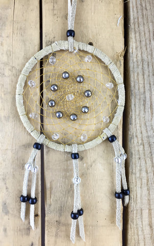 Grey/Clear Beaded Leather Dreamcatcher
