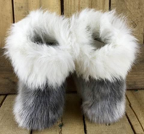 Seal Fur Slippers with White Rabbit Trim and Muskox Leather Soles