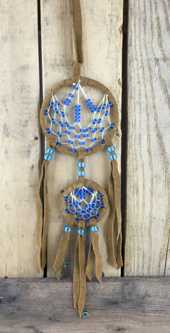 Blue Beaded Two-Tiered Brown Leather Dreamcatcher