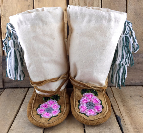 Pink and Grey Beaded Flowers on Hand Tanned Moose Hide and Canvas Mukluks