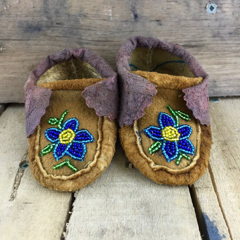 Blue/Yellow Flower Beaded Moose-Hide Slippers