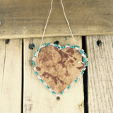 Turquoise and Clear Beaded Moose Hide Heart Frame