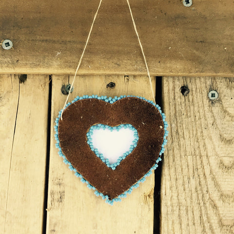 Blue Beaded Moose Hide Heart Frame