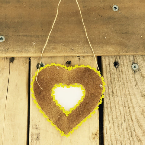 Yellow Beaded Moose Hide Heart Frame
