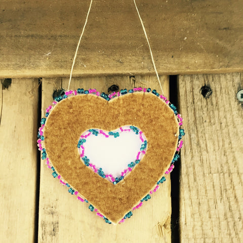 Pink and Blue Beaded Moose Hide Heart Frame