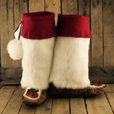 Red/Pink Beaded Flowers on Hand Tanned Moose Hide Mukluks with Rabbit Fur