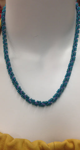 Teal/Purple Beaded Necklace