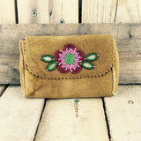 Moose Hide Wallet with a Pink and Red Beaded Flower