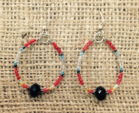 Red and White Multi Coloured Beaded Hoop Earrings