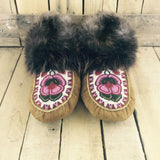 Red/Pink Beaded Flower on Hand Tanned Moose Hide Slippers with Beaver Fur
