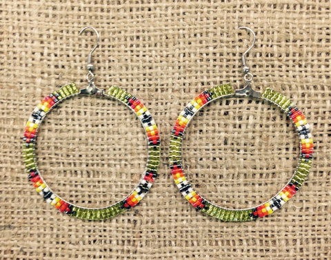 Yellow Multi-Coloured Hoop Earrings