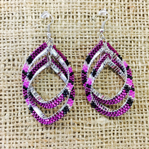 Purple Beaded Double Spiral Earrings