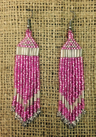 Pink and White Long Tassel Earrings