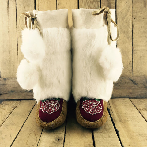 Red/White Beaded Flowers on Hand Tanned Moose Hide Mukluks with Rabbit Fur