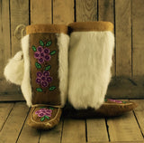 Moosehide Mukluks with Three 2 Tone Pink 5 Petal Flowers and White Rabbit Fur