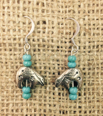 Silver Buffalo With Teal Beads Earrings