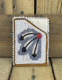 Black and White Feather Beaded Moose Hide Debit/Credit Cardholder