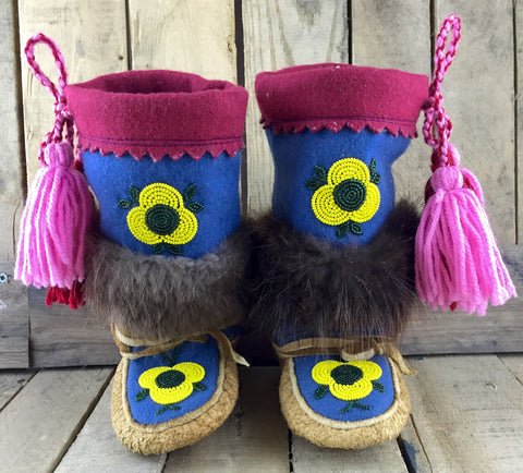 Yellow and Green Beaded Flowers on Hand Tanned Moose Hide and Stroud Mukluks with Beaver Fur