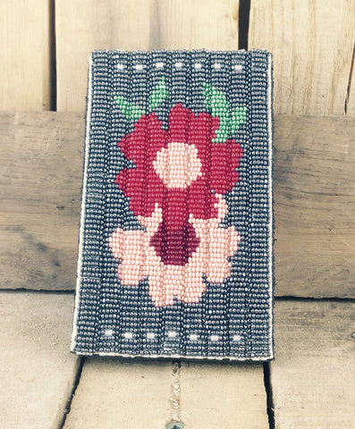 Pink and Red Flower Beaded iPhone 5 Case with Belt Clip