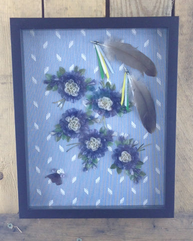 Blue Flowers Fish Scale Art with Feathers in Frame