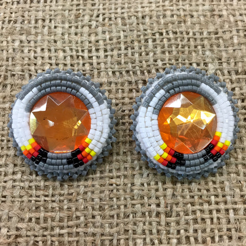 Orange/Grey/White Circle Pow Wow Earrings