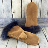 Factory Hide Mitts with Beaver Fur Trim