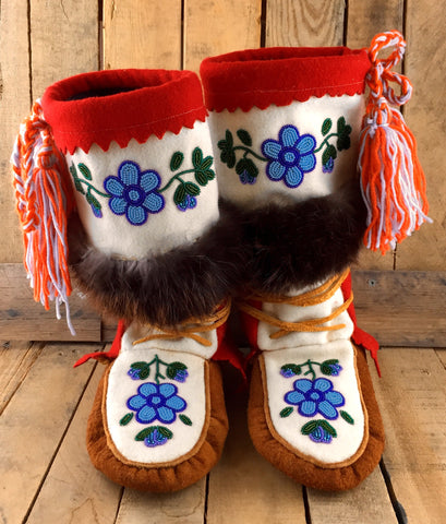 Blue Beaded Flowers on Hand Tanned Moose Hide and Stroud Mukluks with Beaver Fur
