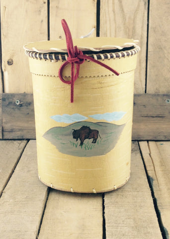 Birch Bark Basket with Buffalo Painting