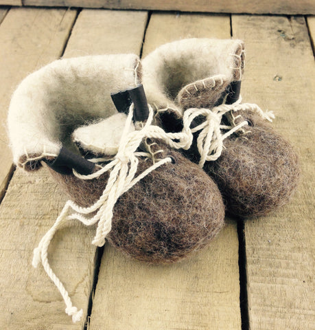 Brown Felted Wool Baby Booties
