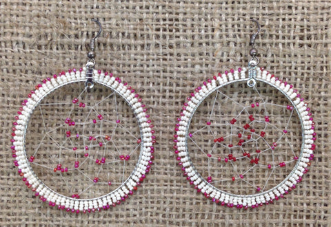 Red and White Beaded Dreamcatcher Hoop Earrings