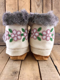 Pink/Green/White Beaded Moose-Hide/Stroud Crow Boots