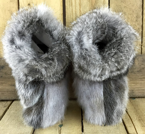 Seal Fur Slippers with Grey Rabbit Trim and Muskox Leather Soles