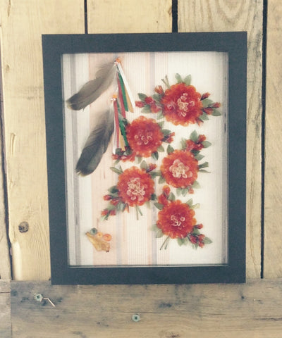 Orange Flowers Fish Scale Art in Shadow Box Frame
