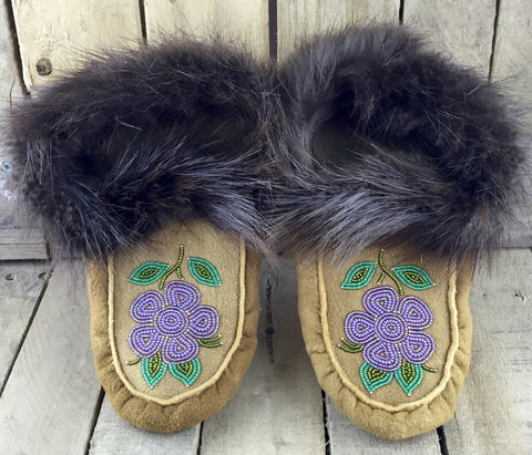 Purple Beaded Flowers on Hand Tanned Moose Hide Slippers with Beaver Fur