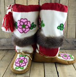 Pink Beaded Flowers on Hand Tanned Moose Hide Mukluks with Beaver Fur
