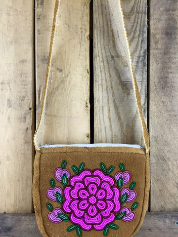 Pink/Red/Green Beaded Moose-Hide Purse