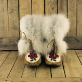 Red Flowers Beaded on Moose Hide Crow Boots with Arctic Fox Fur