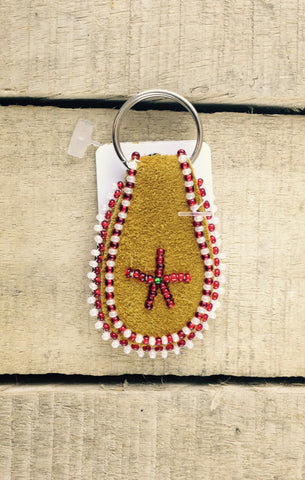 Red and White Beadwork on Hand Tanned Moose Hide Keychain