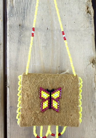 Red and Yellow Beaded Butterfly on Moose Hide Medicine Pouch