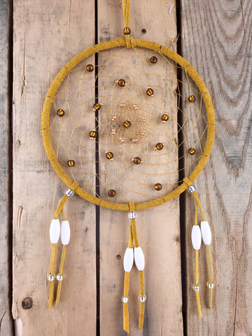 Gold/White/Clear Beaded Leather Dreamcatcher