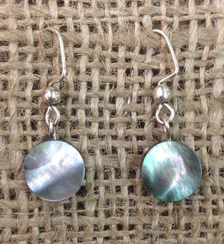 Round Silver Shell Earrings