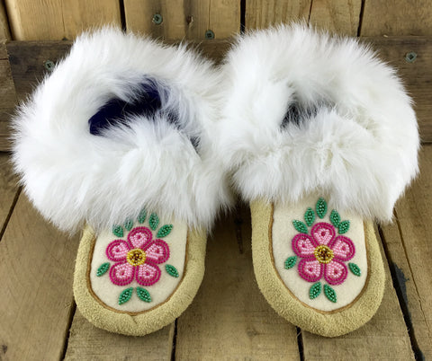 Pink Flowers Beaded on Factory Tanned Moose Hide Slippers with Rabbit Fur Trim