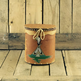 Painted Cylinder Birch Bark Basket with Lid
