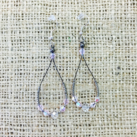 Beaded Teardrop Wire Earrings