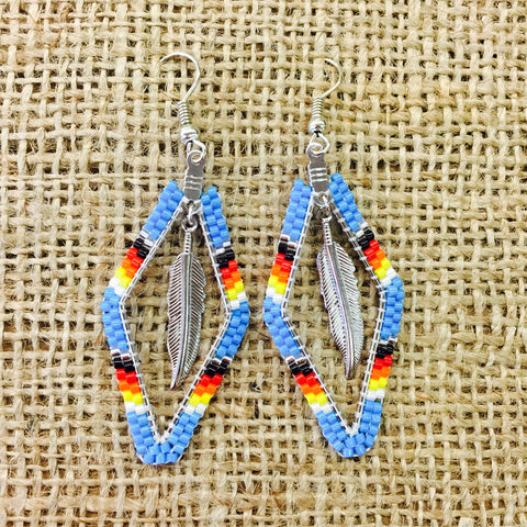 Beaded Diamond Shaped Earrings with Feather