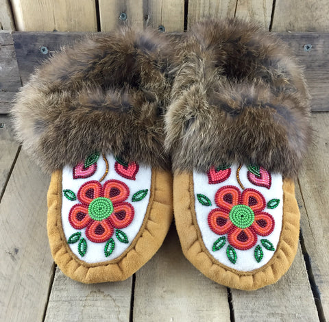Red and Orange Flowers Beaded on Factory Tanned Moose Hide Slippers