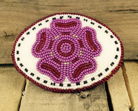Pink/Red Flower  with White Background Beaded Belt Buckle